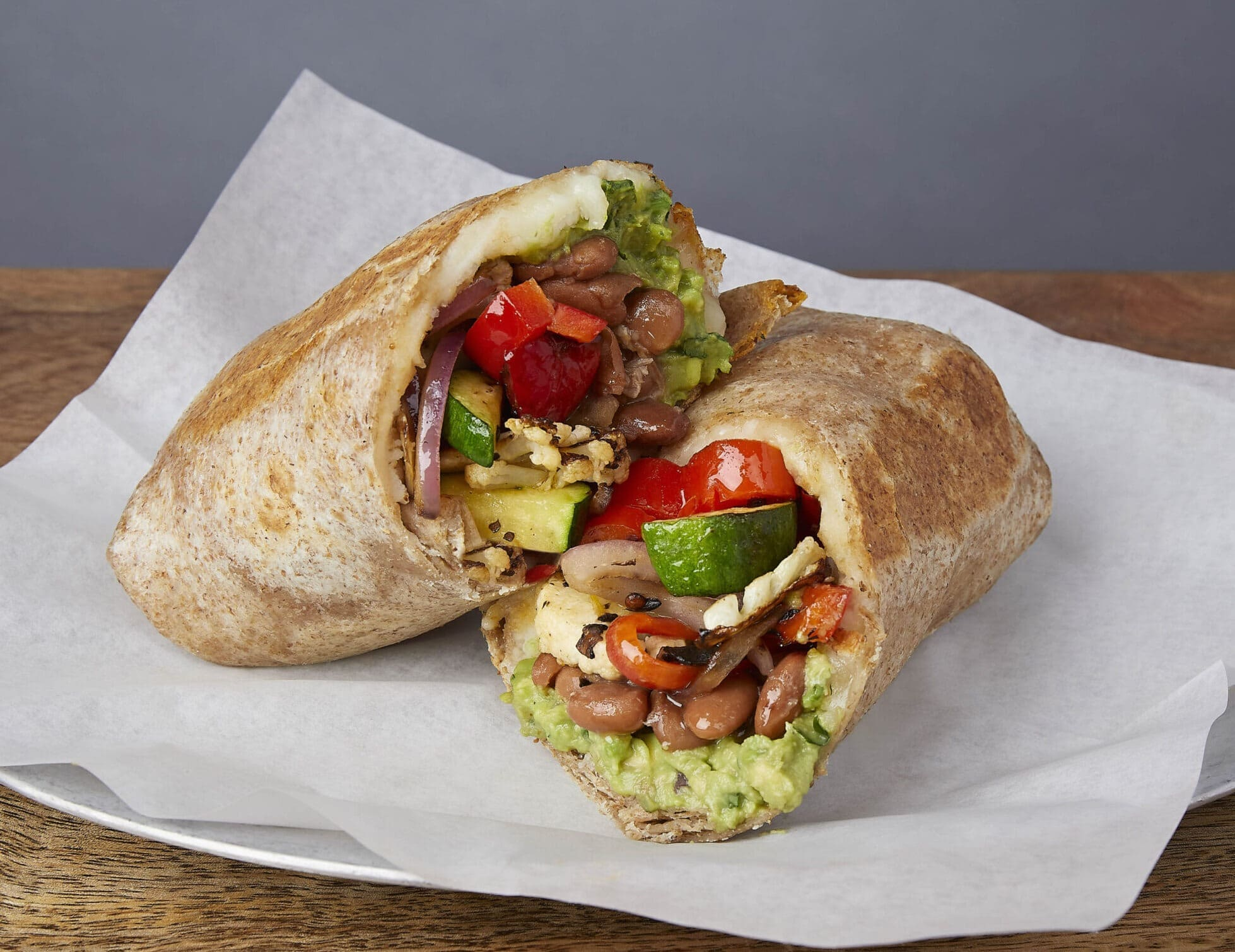 Image of a grilled veggie burrito