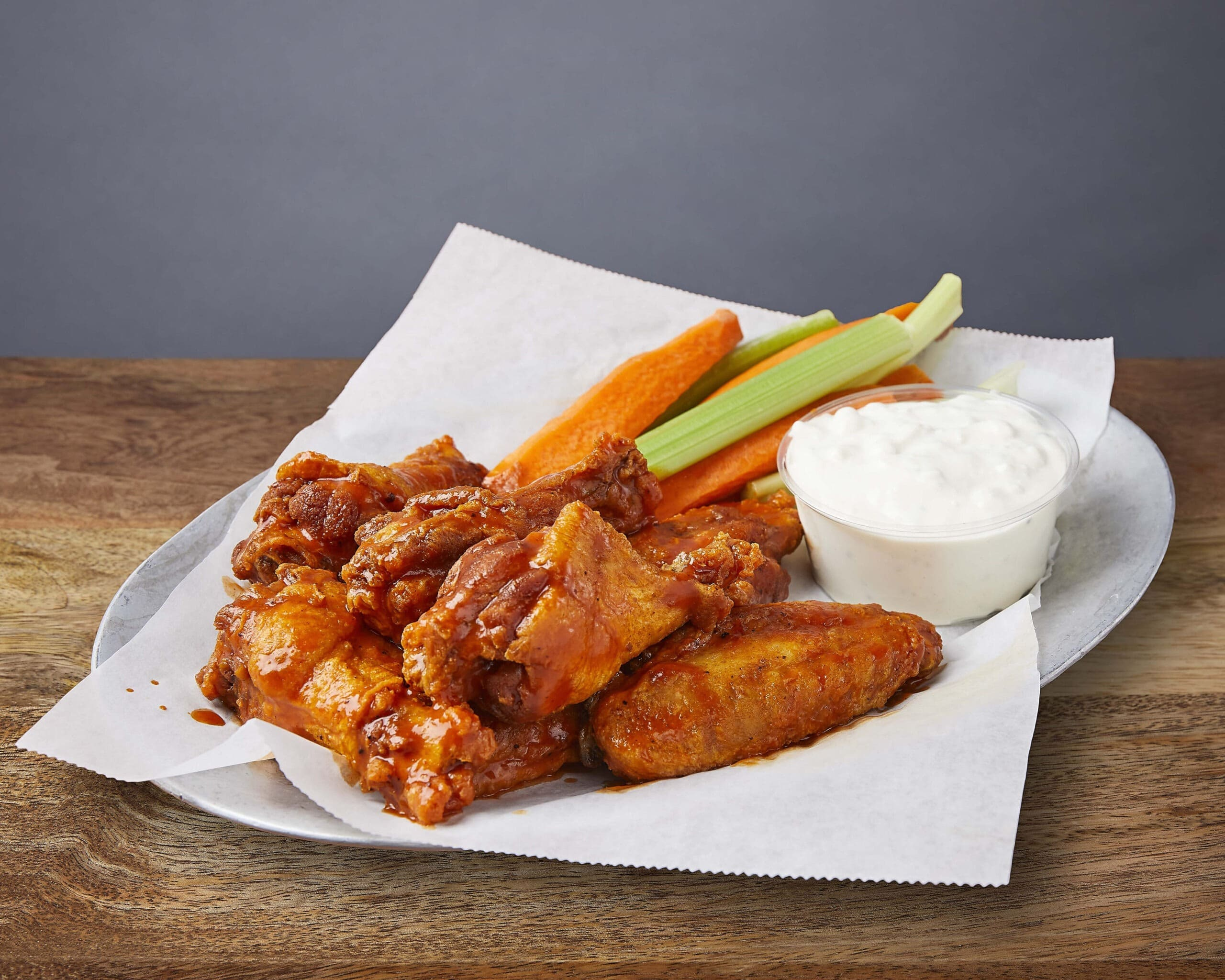 Image of Buffalo Chicken Wings, blue cheese, celery, carrots